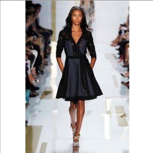 DVF Runway Denim & Lace Wrap Dress